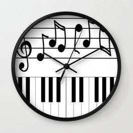 Music Notes with Piano Keyboard Wall Clock