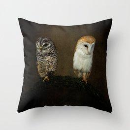 Barn And Tawny Owl Throw Pillow