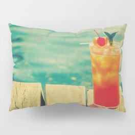 Mai Tai by the Dock - Kitschy Cocktail Print Hawaii Vintage Retro Pillow Sham