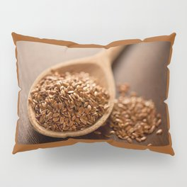 Brown flax seeds heap on wooden spoon Pillow Sham