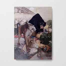 """The Monkey Fight"" from Kipling's Tales of India Metal Print"