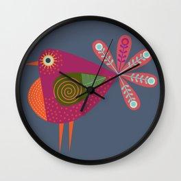 Red fantailed Folk Bird Wall Clock