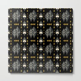SCANDINAVIAN LEAVES PATTERN Metal Print