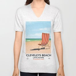 Cleveleys Beach, lancashire vintage travel poster Unisex V-Neck