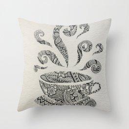 But first, Tea - tea coffee lover zentangle Throw Pillow