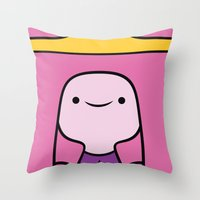 princess bubblegum Throw Pillows featuring Princess Bubblegum by OverClocked