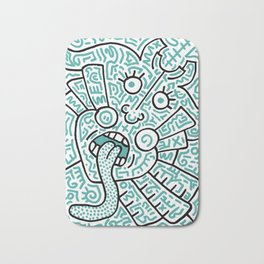 """""""The Face"""" - inspired by Keith Haring v. teal Bath Mat"""