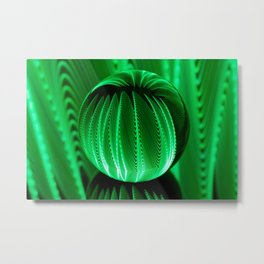 Green waves in glass ball Metal Print
