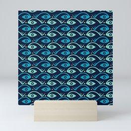 Fish and Eye seamless pattern. Mini Art Print