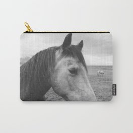 Horse Print in Black and White Carry-All Pouch