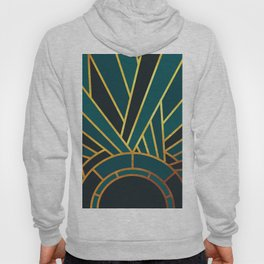Art Deco Sunset In Teal Hoody