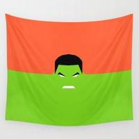 hulk Wall Tapestries featuring HULK  by kattie flynn