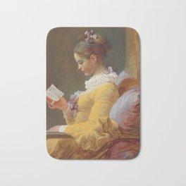 Young Girl Reading Painting by Jean-Honoré Fragonard Bath Mat