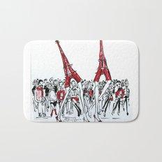 A Paris Runway Fashion Illustration Bath Mat