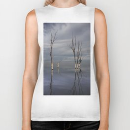 Dry trees submerged in the lake. Biker Tank