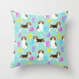 Beagle marshmallow peeps candy spring easter treat tradition for dog lovers Throw Pillow