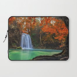 lake forest autumn blue lake beautiful waterfall erawan waterfall waterfalls thailand Laptop Sleeve