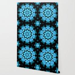 Blue Green Heart Mandala Kaleidoscope Pattern Wallpaper