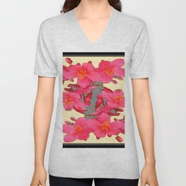 BLACK-PINK FLOWER BLOSSOMS YELLOW SPRING ART Unisex V-Neck