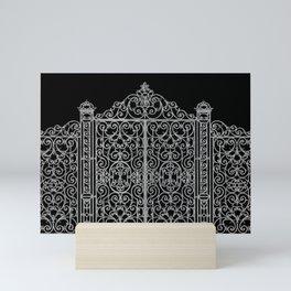 French Wrought Iron Gate   Louis XV Style   Ornate Ironwork   Black and Silvery Grey   Mini Art Print