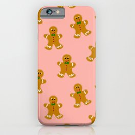 Gingerbread Man Cookie Seamless Pattern Design - Christmas Surface Print iPhone Case