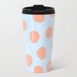 Sweet Life Dots Peach Coral Pink + Blue Raspberry Travel Mug