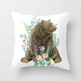 bear sitting in the forest Throw Pillow
