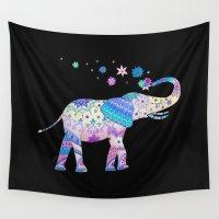 henna Wall Tapestries featuring Henna Elephant by Sad Zebra