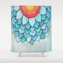 Pencil Watercolor Tropical Flower Shower Curtain