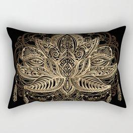Lotus Black & Gold Rectangular Pillow