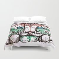 snow leopard Duvet Covers featuring Snow leopard by Caballos of Colour