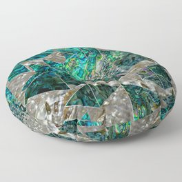 Abstract Geometric Abalone and Mother of pearl Floor Pillow