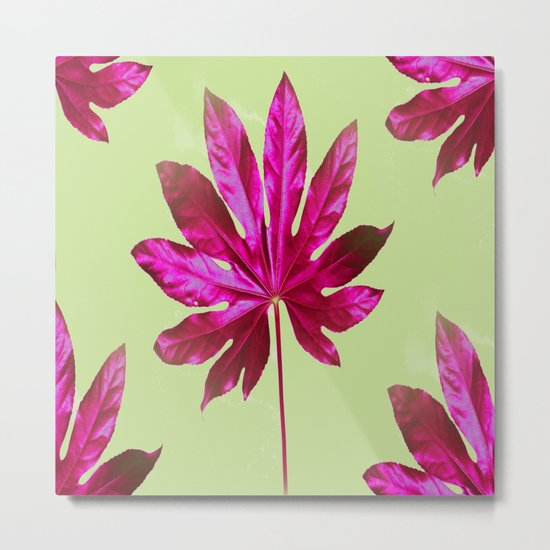 Large pink leaf on a olive green background - beautiful colors Metal Print