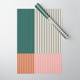 Color Block Line Abstract V Wrapping Paper