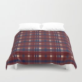 Plaid- Navy Red and Tan Duvet Cover