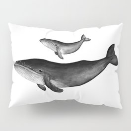 Whales, black and white Pillow Sham