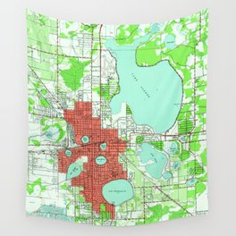 Vintage Map of Lakeland Florida (1944) Wall Tapestry