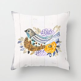 Nesting painted bird Throw Pillow