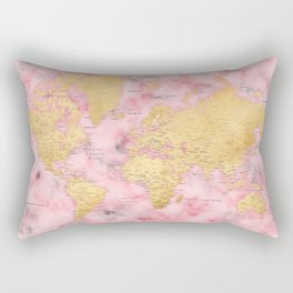Gold and pink marble world map Rectangular Pillow