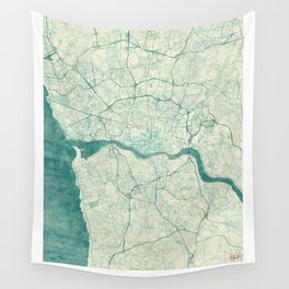 Porto Map Blue Vintage Wall Tapestry