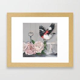 Rose-breasted Grosbeak Victorian Framed Art Print