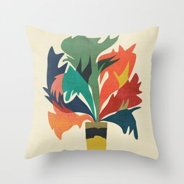 Potted staghorn fern plant Throw Pillow