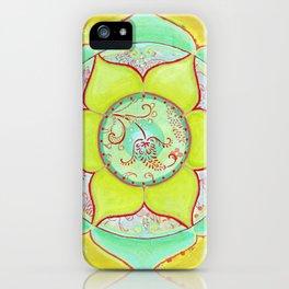 Green Lotus Mandala iPhone Case