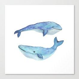 whale watercolor Canvas Print