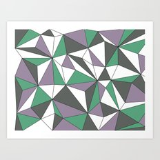 Geo - purple, green, gray and white. Art Print