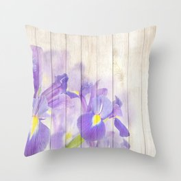 Romantic Vintage Shabby Chic Floral Wood Purple Throw Pillow