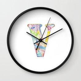 Letter V - Watercolor Monogram - Colorful Lettering - Watercolor Letter Print - Watercolor Initial Wall Clock