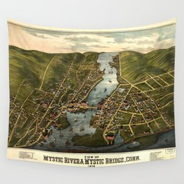 View of Mystic River & Mystic Bridge, Connecticut (1879) Wall Tapestry