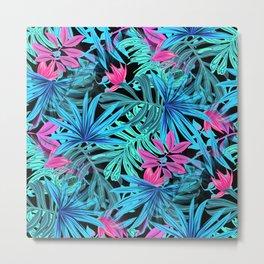 Tropical Leaves Floral Pattern Blue and Pink Metal Print