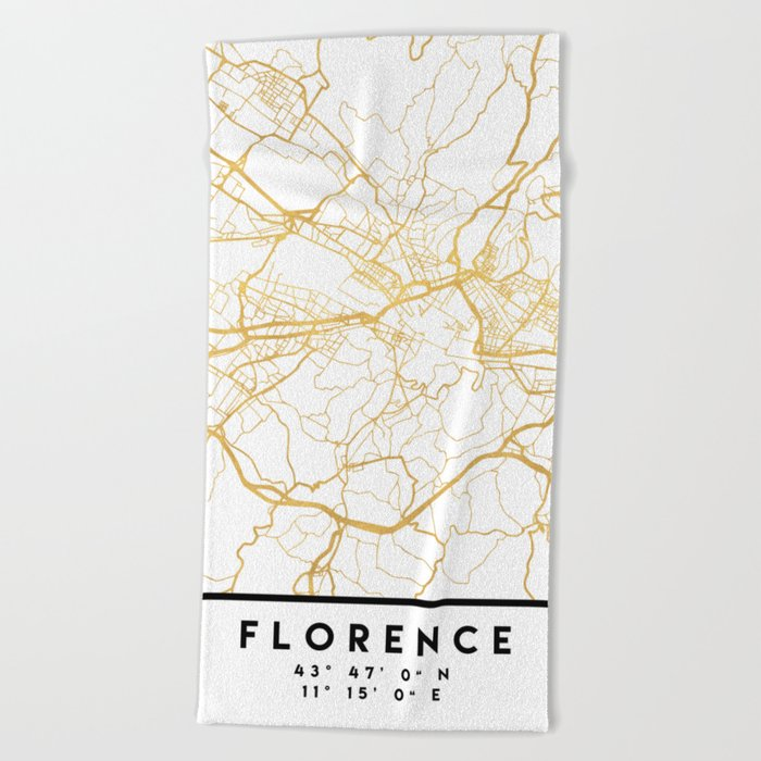 FLORENCE ITALY CITY STREET MAP ART Beach Towel by deificusart | Society6